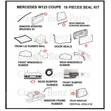 16 Pieces Weathership Gasket and Rubber Kit Mercedes W123 Coupe