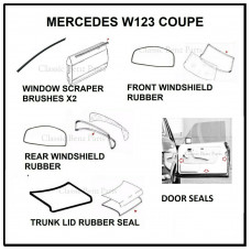 7 Pieces Weathership Gasket and Rubber Kit Mercedes W123 Coupe