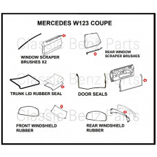 9 Pieces Weathership Gasket and Rubber Kit Mercedes W123 Coupe